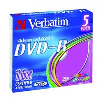 Verbatim DVD-R, DataLife PLUS, 5-pack, slim case