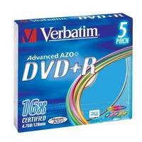 Verbatim DVD+R, DataLife PLUS, 5-pack, slim case
