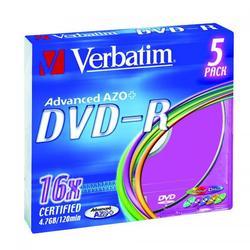 Verbatim DVD-R, DataLife PLUS, 5-pack, slim case