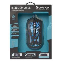 Defender Optická Myš Bionic GM-250L, černá s herní podložkou, podsvícená - 3